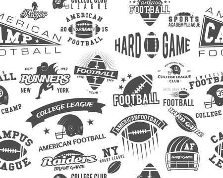 College rugby and american football team seamless pattern in retro style. Graphic vintage design for league tournaments, t-shirt, websites. Sports print on a white background. Vector illustration