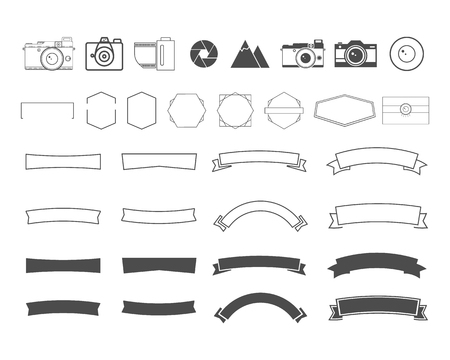 Photography vintage and retro symbols, ribbons, frames, elements. Make your own icons, badges, labels set. Vector camera logo templates. Illustration