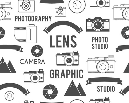 photography: Photography symbols elements seamless pattern. Outdoor photo, graphic studio keywords. Monochrome texture design with lens and other equipment. Vector illustration Illustration