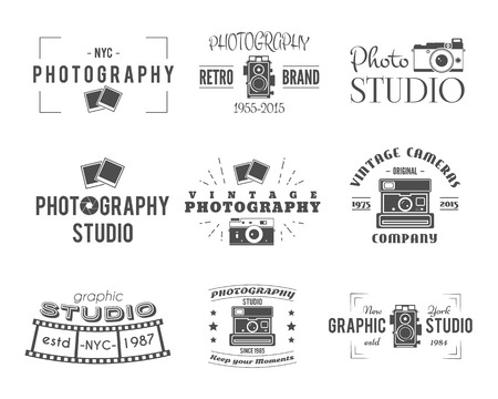camera: Vintage Photography Badges, Labels. Monochrome design with stylish cameras and elements. Retro style for photo studio, photographer, equipment store. Signs, logos. Vector illustration