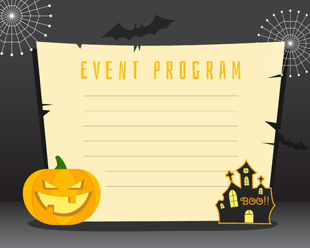 horror house: Halloween background with place for text. Happy halloween flyer card, poster. Dark design with pumpkin, horror house, bats web and retro paper. Vector illustration