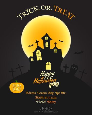 Happy Halloween party poster, flyer, banner. Celebration card. Trick or treat text. With pumpkin, bats moon and other halloween elements. Vector illustration