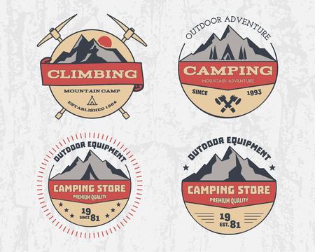 escalando: Conjunto de color de aventura acampar al aire libre retro y la monta�a
