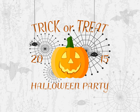 halloween poster: Trick or Treat banner. Happy Halloween Poster. With spider, spiderweb, bat and pumpkin. Nice design for your great party. Vector illustration.