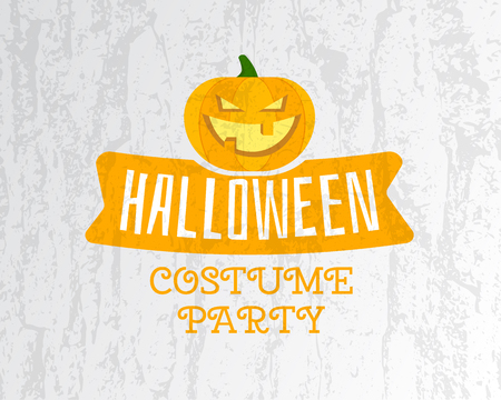 costume party: Happy Halloween costume party flyer template - orange and white colors with pumpkin, ribbon and texts on bright textured background. Stylish design for celebration Halloween. Vector illustration