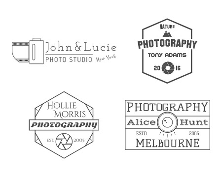 simple store: Photographer Badges and Labels in Vintage Style. Simple Line design. Retro theme for photo studio, photographers, equipment store. Signs, logos, insignias. Vector illustration Illustration