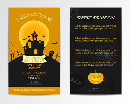 costume party: Halloween card invitation. Vector. Dark, orange minimal and flat design. Costume party style. Can be use for cover design poster, flyer, brochure, card Illustration