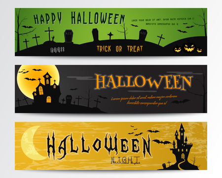 Three Halloween banners. Green, dark and orange designs. Can be use on web, print. As invitation, flyer card, halloween  poster etc. Nice design for celebration halloween. Vector illustration