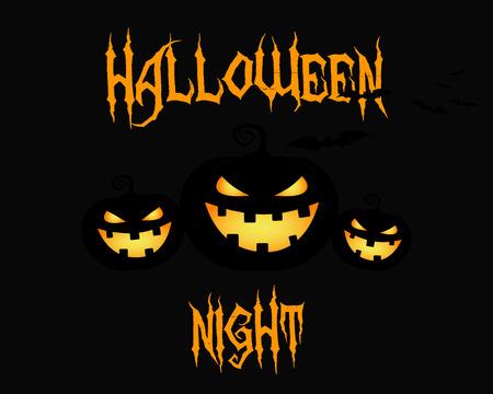 citrouille halloween: Happy Halloween carte de nuit de f�te. citrouille d'Halloween, la conception sombre. Contexte, affiche et la banni�re. Design plat pour la c�l�bration de l'Halloween. Vector illustration