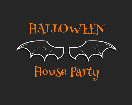 celebration party: Stylish unique bat background. Happy Halloween house party card. Poster and banner. Flat dark design for celebration halloween. Vector illustration