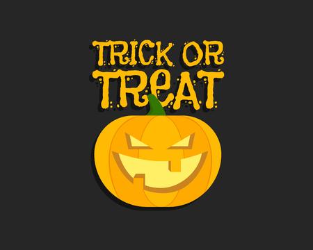 halloween poster: Dolcetto o scherzetto. Halloween poster con scritte a mano e zucca. Design piatto su sfondo scuro. Illustrazione vettoriale
