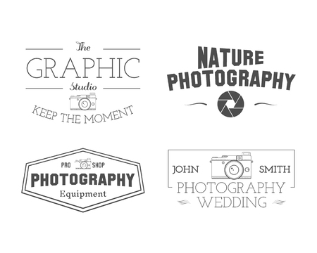 simple store: Photographer Badges and Labels in Vintage Style. Simple Line, unique design. Retro theme for photo studio, photographers, equipment store. Signs, logos, insignias. Vector illustration
