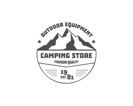 Vintage mountain camping store badge, outdoor logo, emblem and label. Hiking, climbing concept, monochrome design. Best for travel sites, adventure magazines. Easy to change color. Vector illustration