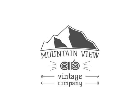 mountain view: Vintage mountain camping store badge, outdoor logo, emblem and label. Hiking, climbing concept, monochrome design. Mountain view concept. Easy to change color. Vector illustration Illustration
