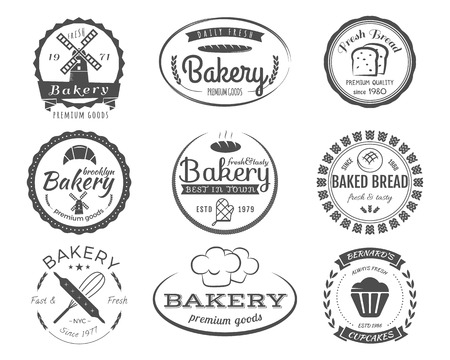 Set of bakery labels, badges and design elements, symbols. Fresh bread, cakes logo templates. Monochrome vintage style. Cupcake emblem. Vector illustration