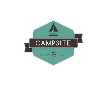 adventure travel: Vintage mountain camping badge, outdoor logo, emblem and label. Forest camp concept, color design. Best for travel sites, adventure magazines. Easy to change color. Vector illustration