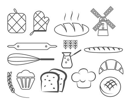 pain frais: Ensemble d'ic�nes de ligne de boulangerie et des �l�ments de conception, de symboles. Du pain frais, des g�teaux logo mod�les. Monochrome style vintage. Embl�me de Cupcake. Vector illustration Illustration