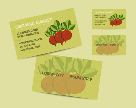 local business: Summer Farm Fresh branding identity elements. Business card template. Organic design. Mock up. Best for natural shop, organic fairs, eco markets and local companies. Vector illustration Illustration