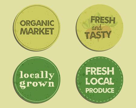 fairs: Summer Farm Fresh branding identity elements. Label, badge, emblem templates. Organic, bio design. Mock up. Best for natural shop, organic fairs, eco markets and local companies. Vector illustration