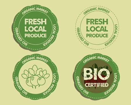 fairs: Summer Farm Fresh branding identity elements. Logo, Label, badge, emblem templates. Organic, bio design. Mock up. Best for natural shop, organic fairs, eco markets and local companies. Vector. Illustration