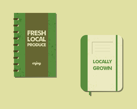 fairs: Stylish Farm Fresh brand book, notebook templates with ecology logo. Organic, eco, bio. Mock up design. Retro colors. Best for natural shop, organic fairs, eco markets and local companies. Vector. Illustration