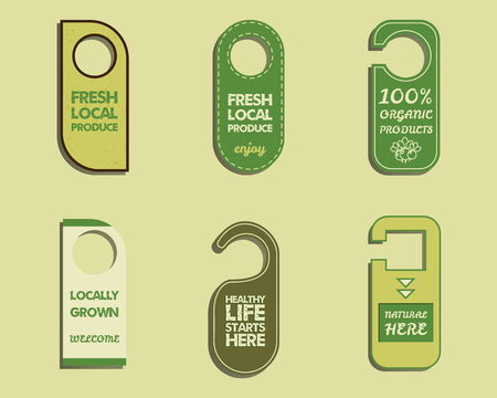fairs: Stylish Farm Fresh, Organic brand door badge, sticker templates. Bio, eco theme. Mock up design. Retro colors. Best for natural shop, organic fairs and local companies. For web and print. Vector.