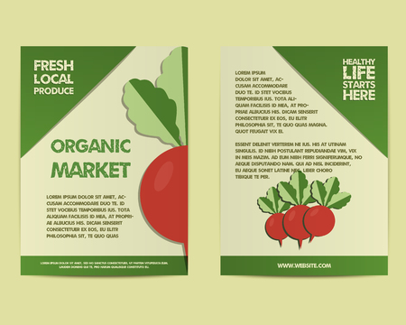 fairs: Summer Farm Fresh poster, template or brochure design with radish. Mock up design with shadow. Best for natural shop, organic fairs, markets, eco events and local companies. Vector illustration Illustration