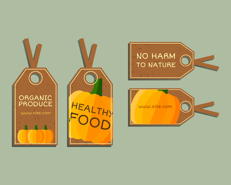 fairs: Organic farm corporate identity design with pumpkin. Branding your eco shop, company. Stickers. Mock up design. Best for natural shop, organic fairs, bio markets and local companies. Vector.