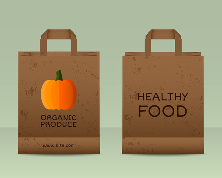 fairs: Stylish Farm Fresh paper bags template. Mock up design with pumpkin. Vintage colors. Best for natural shop, organic fairs, eco markets and local companies. Vector illustration