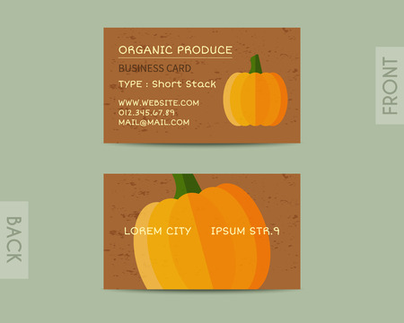 fairs: Summer Organic Farm Fresh branding identity elements. Business card template. Stylish design. Mock up style. Best for natural shop, organic fairs, eco markets and local companies. Vector illustration