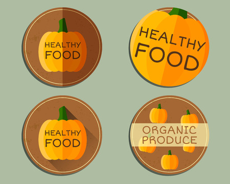 fairs: Organic farm corporate identity design with pumpkin. Branding your eco shop, company. Ecology labels, badges. Mock up design. Best for natural shop, fairs, bio markets and local companies. Vector. Illustration