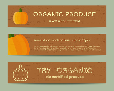 fairs: Summer Farm Fresh branding identity elements. Pumpkin banners templates. Organic, bio design. Mock up. Best for natural shop, organic fairs, eco markets and local companies. Vector illustration