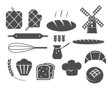 pain frais: Ensemble de boulangerie ic�nes silhouette et des �l�ments de conception, de symboles. Pain frais