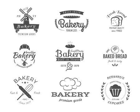 Set of bakery labels, icons, badges and design elements, symbols. Illustration