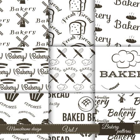 pain frais: Ensemble de boulangerie mod�les sans couture. Vector p�tisseries horizons avec des �l�ments de cuisine. Du pain frais, desserts et autres symboles de l'image de marque de votre entreprise. Illustration