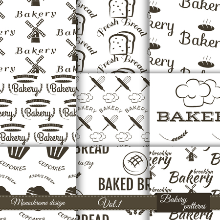 bake: Set of bakery seamless patterns. Vector bake backgrounds with cooking elements. Fresh bread, desserts and other symbols for branding your business. Illustration
