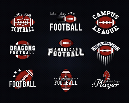football play: American football team, college badges, labels, insignias, icons in retro style.