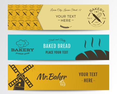 pain frais: Boulangerie et banni�res alimentaires collection. Banner set avec du pain frais, des ic�nes d'�oliennes, des �tiquettes.