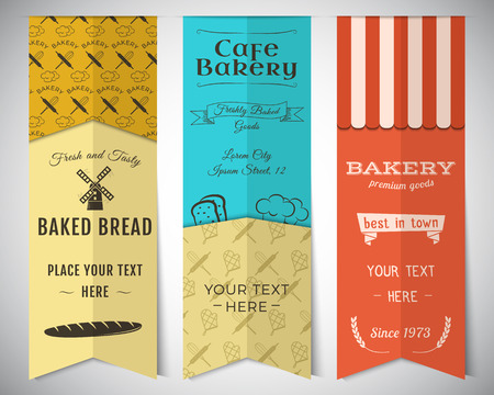 Bakery shop and cafe vertical banners collection. Stickers set with fresh bread, windmill icons, , labels.