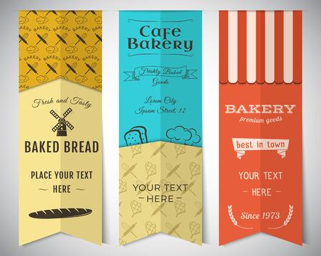 pain: Boulangerie et un café bannières verticales collection. Autocollants fixés avec du pain frais, des icônes d'éoliennes, des étiquettes.