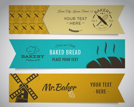 pain frais: Boulangerie et banni�res alimentaires collection. Banner set avec du pain frais, des ic�nes d'�oliennes, des �tiquettes. Conception de la couleur �l�gante.