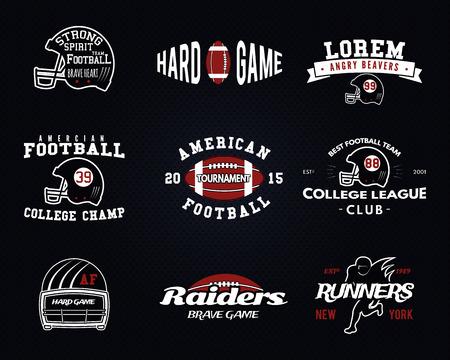 campeonato de futbol: Conjunto de f�tbol americano, las etiquetas de la liga universitaria,, insignias, insignias, iconos de estilo vintage. Vectores