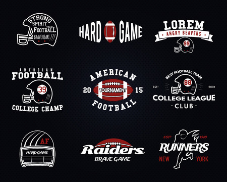 college football: Set of American football, college league labels, , badges, insignias, icons in vintage style.