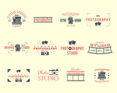 Vintage Textured Photography Badges, Labels.