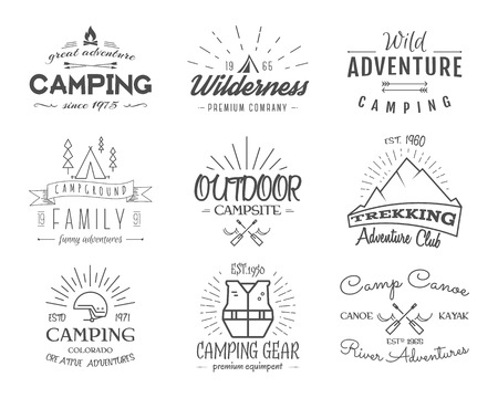 camp: Set of retro badges and label  graphics. Camping emblems and travel insignia.