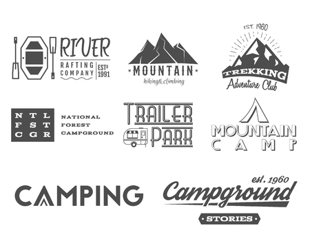 rv: Set of retro badges and label  graphics. Camping, mountain emblems and travel