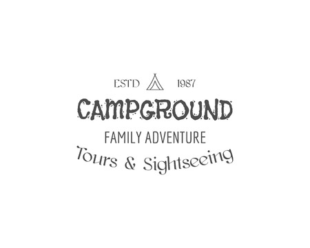 family hiking: Vintage family camping badge