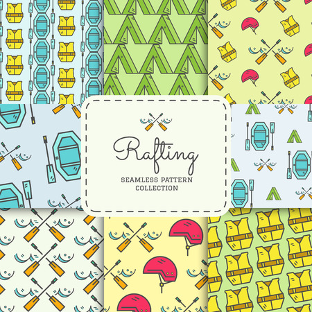 life jacket: Rafting equipment seamless pattern collection. Outdoors style, thin line color design. Stylish elements for web, mobile applications, banners, flyers, posters, brochures. Boat, life jacket. Vector. Illustration