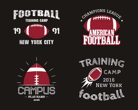 Set of american football team campus badges, , labels, insignias in retro color style. Graphic vintage design for t-shirt, web.   イラスト・ベクター素材