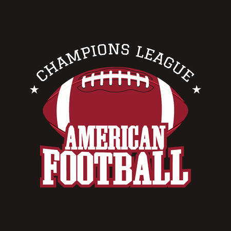 football ball: American football champions league badge, , label, insignia in retro color style. Illustration